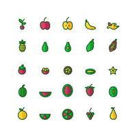 jeu d'icônes de fruits ligne plate vectorielle pour la présentation de l'application mobile du site Web médias sociaux adaptés à l'interface utilisateur et à l'expérience utilisateur vecteur