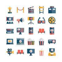 jeu d'icônes de cinéma à plat pour la présentation de l'application mobile du site Web, les médias sociaux adaptés à l'interface utilisateur et à l'expérience utilisateur vecteur