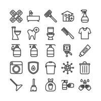 ligne de vecteur de jeu d'icônes de nettoyage pour la présentation de l'application mobile du site Web, les médias sociaux adaptés à l'interface utilisateur et à l'expérience utilisateur