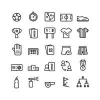 jeu d'icônes de football ligne vectorielle pour site Web présentation de l'application mobile médias sociaux adaptés à l'interface utilisateur et à l'expérience utilisateur vecteur
