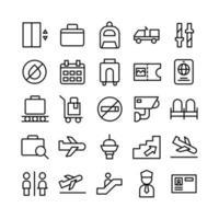 l'icône de l'aéroport définit la ligne vectorielle pour la présentation de l'application mobile du site Web, les médias sociaux adaptés à l'interface utilisateur et à l'expérience utilisateur vecteur