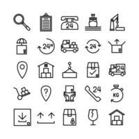 ligne vectorielle de jeu d'icônes logistiques pour la présentation de l'application mobile du site Web, les médias sociaux adaptés à l'interface utilisateur et à l'expérience utilisateur vecteur