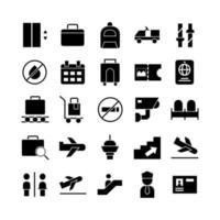 jeu d'icônes d'aéroport vecteur solide pour la présentation de l'application mobile du site Web médias sociaux adaptés à l'interface utilisateur et à l'expérience utilisateur