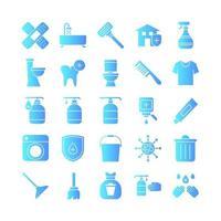 jeu d'icônes de nettoyage gradient vectoriel pour site Web présentation d'application mobile médias sociaux adaptés à l'interface utilisateur et à l'expérience utilisateur