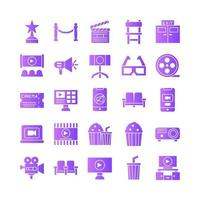 jeu d'icônes de cinéma gradient vectoriel pour la présentation de l'application mobile du site Web médias sociaux adaptés à l'interface utilisateur et à l'expérience utilisateur