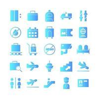 jeu d'icônes d'aéroport gradient vectoriel pour site Web présentation d'application mobile médias sociaux adaptés à l'interface utilisateur et à l'expérience utilisateur