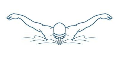 contour nageur action sport natation vecteur