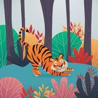 tigre dans la jungle vecteur