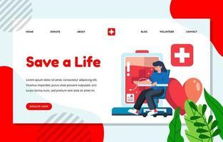 concept de page de destination pour le don de sang pour la charité vecteur