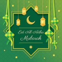 eid al adha mubarak avec fond ketupat vecteur