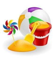 Seau de plage rouge et jouet pour enfants pelle jaune pour illustration de vecteur stock sable isolé sur fond blanc