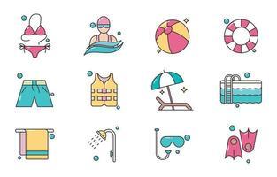 icône de natation d'été coloré vecteur