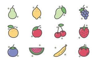 icône de fruits frais colorés vecteur