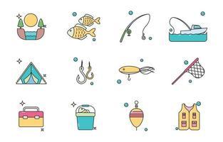 icône de pêche colorée vecteur