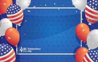 ballon et confettis pour le fond de la fête de l'indépendance de l'amérique vecteur