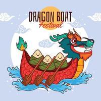 groupe de raviolis mignons ramant un bateau dragon vecteur