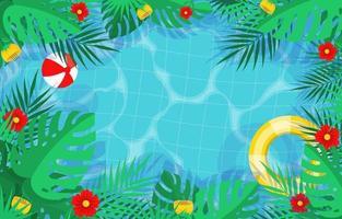 profiter de l'été dans la piscine vecteur
