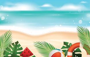 fond de plage d'été réaliste vecteur