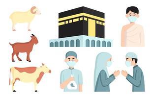 jeu d'icônes eid al adha et hajj vecteur