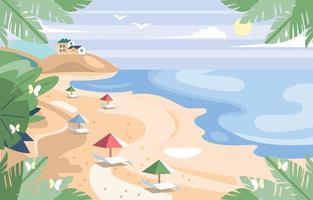 fond de panorama de plage d'été plat vecteur