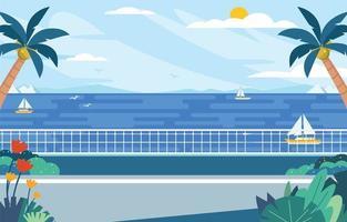 mer lumineuse avec des yachts à l'heure d'été vecteur