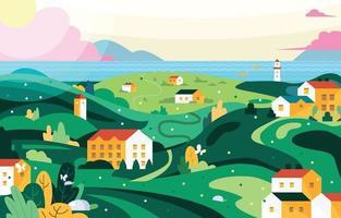 paysage verdoyant d'été coloré vecteur