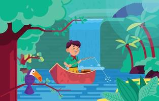 pêche en rivière vecteur