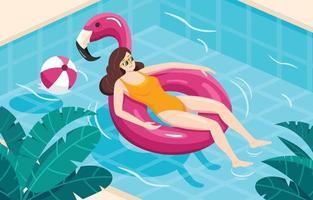 bronzer dans la piscine vecteur