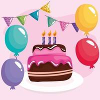 anniversaire de gâteau sucré avec des guirlandes et des ballons à l'hélium vecteur