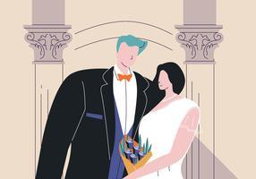Rencontres Couple en tenue de soirée plate Vector Illustration
