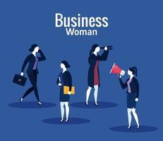 femmes d'affaires avec mégaphone, valise, fichier et jumelles sur fond bleu vector design
