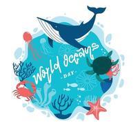concept de la journée mondiale des océans d'activisme vecteur