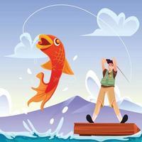 concept d'activité de pêche vecteur