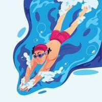 concept d'activité de natation vecteur