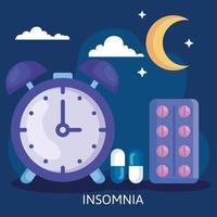 insomnie. horloge avec conception vectorielle de pilules, de lune et de nuages vecteur