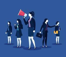 femmes d'affaires avec mégaphone, valise, fichier et smartphone sur fond bleu vector design