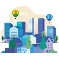 paysage urbain avec des bâtiments, des maisons, des montgolfières, des arbres et des nuages vector design