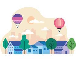 maisons de ville avec montgolfières, arbres, soleil et nuages design vectoriel