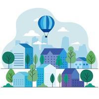 maisons de ville avec des montgolfières, des arbres et des nuages design vectoriel