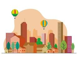 paysage urbain avec des bâtiments orange, des maisons, des montgolfières et des arbres vector design