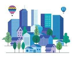 paysage urbain avec des bâtiments, des maisons, des montgolfières et des arbres vector design