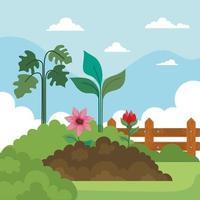 fleurs de jardinage sur terre, plantes, arbustes et conception de vecteur de clôture