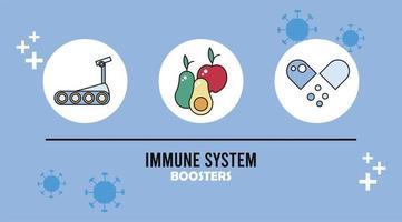 booster du système immunitaire avec des aliments sains et une capsule vecteur