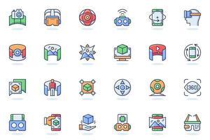 icône de ligne plate web de réalité virtuelle vecteur