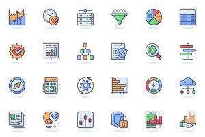 icône de ligne plate web analyse de données volumineuses vecteur
