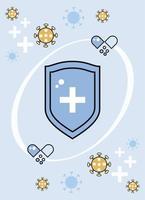 bouclier de rappel du système immunitaire avec particules et capsules covid19 vecteur