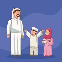 professeur musulman avec des étudiants vecteur