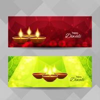 Jeu de bannières Happy Diwali abstraite