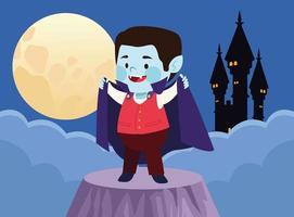 mignon petit garçon habillé en personnage de vampire et château vecteur