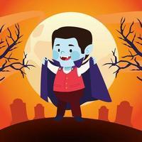 mignon petit garçon habillé en vampire au cimetière vecteur